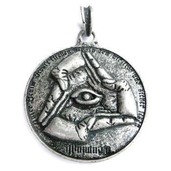 ILLUMINATI versilbert Kettenanhänger Geheimbund-Anhänger Anhänger Amulett Medallion