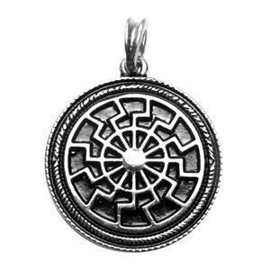 vergoldeter Kettenanhänger Sonnenrad Amulett