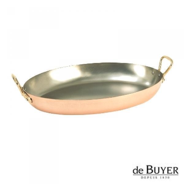 ProPassione de Buyer, Gratinpfanne, oval, 90% Kupfer, 10% Edelstahl, Griffe Messing, massiv, L 32 x B 20 x H 3,5 cm