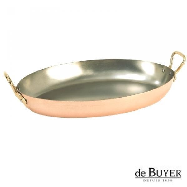 ProPassione de Buyer, Gratinpfanne, oval, 90% Kupfer, 10% Edelstahl, Griffe Messing, massiv, L 36 x B 23 x H, 4,0 cm