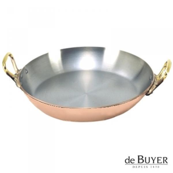 ProPassione de Buyer, Gratinpfanne, rund, 90% Kupfer, 10% Edelstahl, Griffe Messing, massiv, Ø 26 x H 4,0 cm