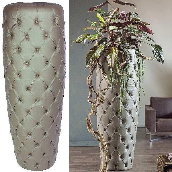 ProPassione Fleur Ami Vase/Pflanzgefäß Royal, Deep-Button-Polsterung, Polyester auf Pappelholzrahmen, H 166 x Ø 56 cm