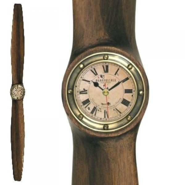 ProPassione Holzpropeller mit Uhr, klein, Kamtschatka Birke, mahagonifarbig gebeizt, Uhr: Messing antik, Maße: L 120 x B