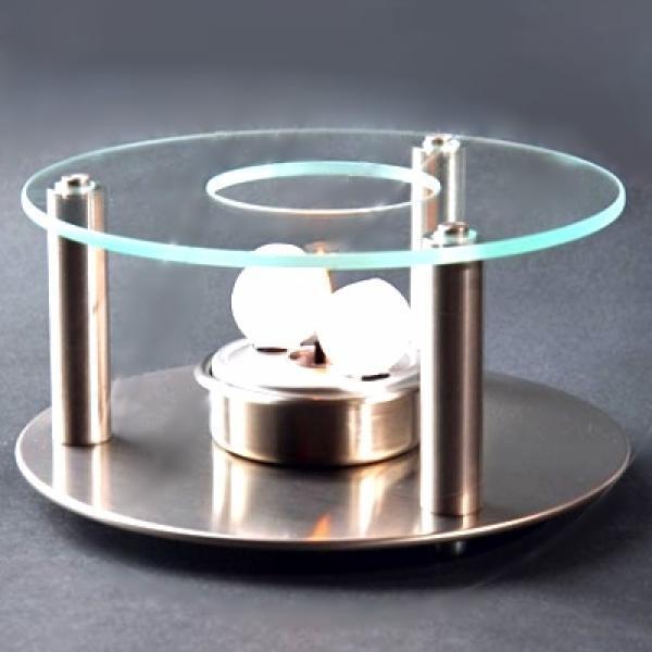 ProPassione Rechaud mit Wachskugeln, Edelstahl, Temperglas, 2 Kugel-Brennsystem, Maße: H 9 cm x Ø  16 cm