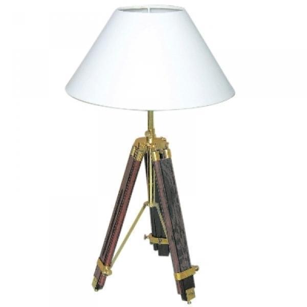 ProPassione Stativ Tischlampe, Chintz-Schirm, Cremeweiß, Messing/mahagonifarbig, Maße: H 94/55 x Ø 35 cm