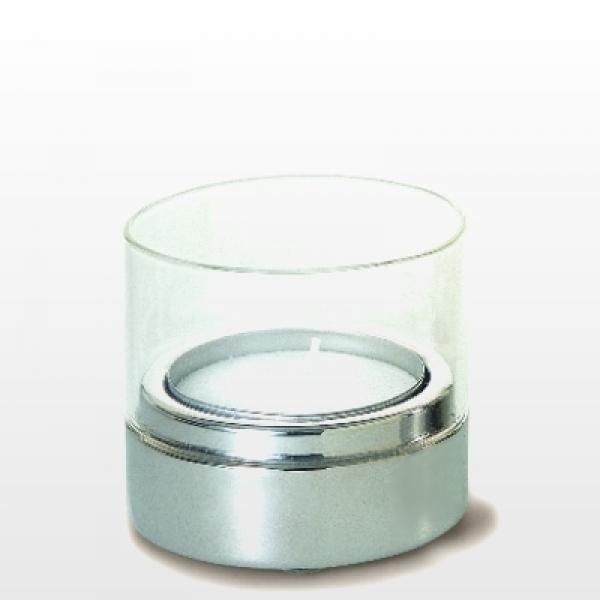 ProPassione Teelichthalter Zylinder, niedrig, Edelstahl, poliert/Glas, f. große Teelichter Ø 5,8 cm, Maße: H 7 x Ø 7 cm