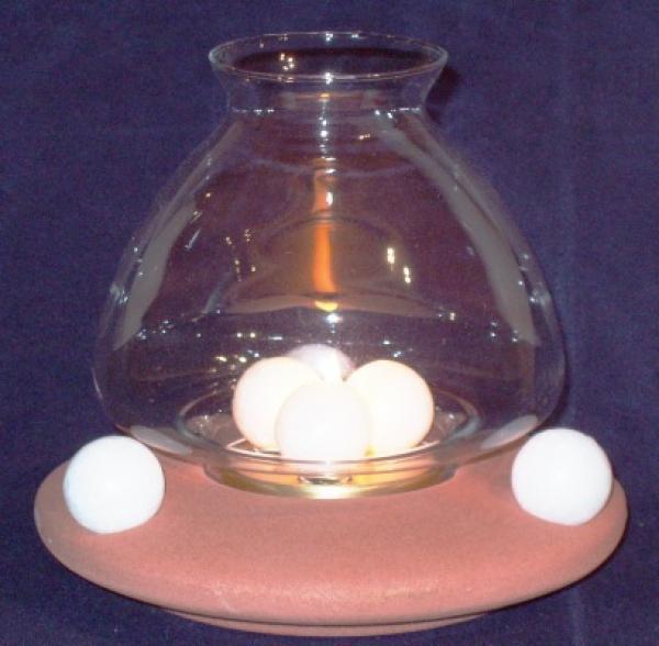 ProPassione Wachskugel Windlicht Terracotta, Keramikfuß Terracottaglasur, 3 Kugel-Brennsystem, Maße: H 18 x Ø16 cm