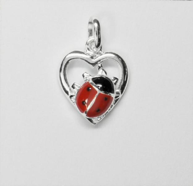 Ein Herz für Tiere - Kettenanhänger Herz Käfer 925 Silber 6260