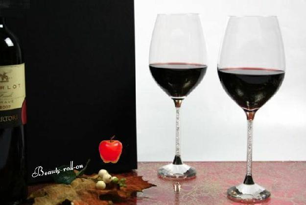 Rotweingläser mit Kristallsteinchen 2er Set