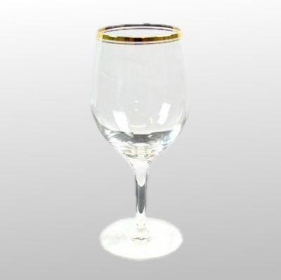 Rotweinglas mit Goldring kristallklar