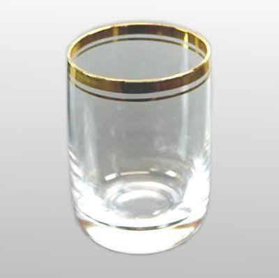 Schnappsglas Stamper Pinnchen mit Goldring klistallklar
