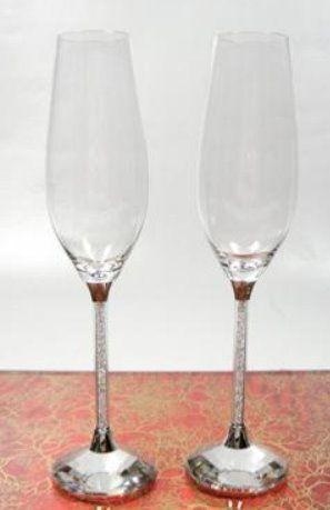 Sektkelche mit Kristallsteinchen 1 Glas