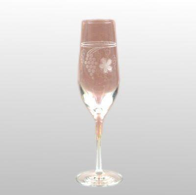Sektkelch Weinlaub glasklar geschliffen