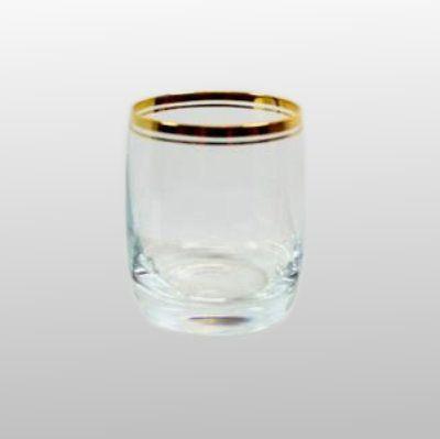 Whiskyglas mit Goldring glasklar