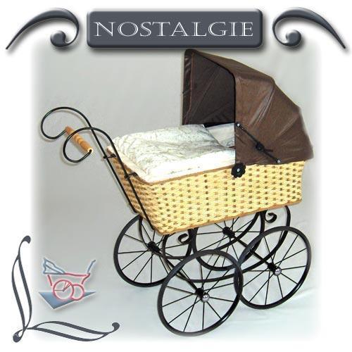Nostalgie-Puppenwagen Garnierung aus Glanzjacquard und Dach
