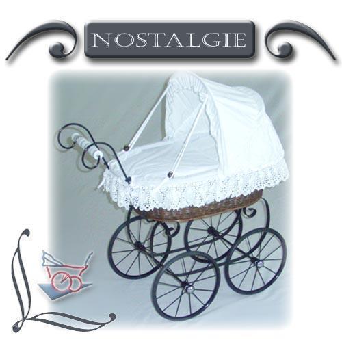 Nostalgie-Puppenwagen Garnierung aus Leinen