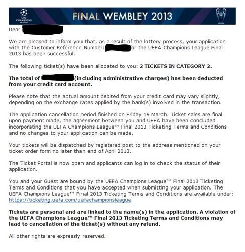 2 Tickets UEFA Champions League Finale 25.05.2013 - London - Wemb