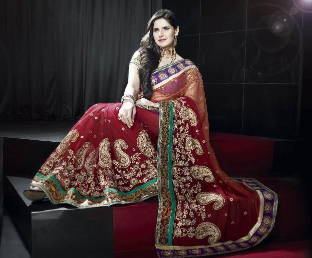 Bollywood Indien Sari Rot mit Embroidery inkl.Blusenstoff
