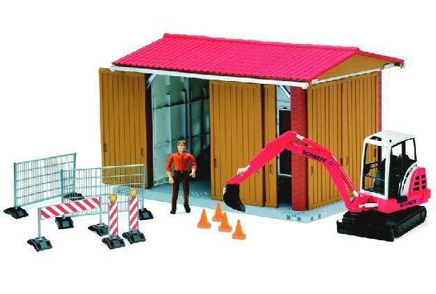 Bruder Maschinenhalle mit Figur, Schaeff Bagger und Zubehör