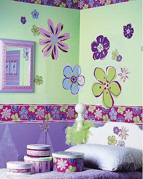 Sticker Aufkleber Wandbild Blumen Retro