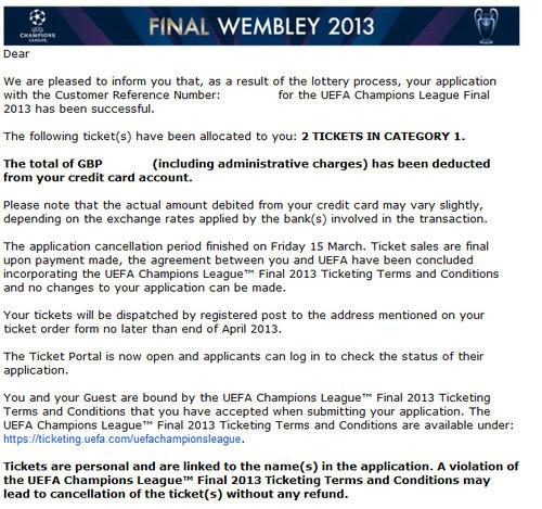 2 Tickets UEFA Champions League Finale - Kategorie 1
