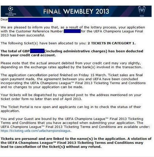 2 TOP Tickets - Kategorie 1 - Champions League Finale 25 Mai 2013 London Wembley