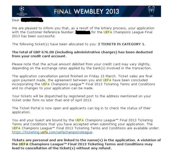 Champions League Finale 25 Mai 2013 London Wembley 2 TOP Tickets - Kategorie 1
