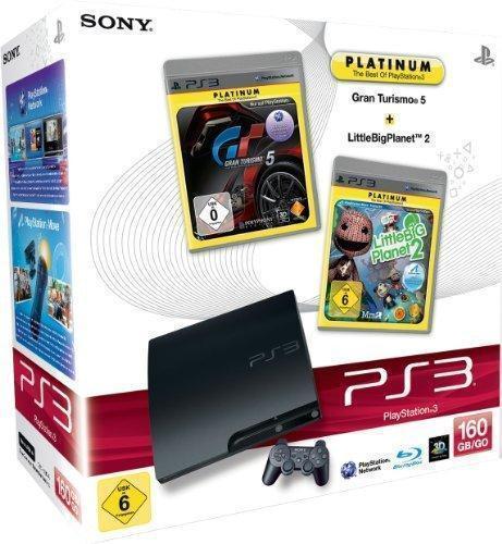 PlayStation 3 - Konsole Slim 160 GB + Gran Turismo 5 [Platinum] + LittleBigPlanet 2 [Plati