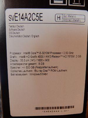 Sony VAIO SVE14 Sondermodell 2013! Wie Neu