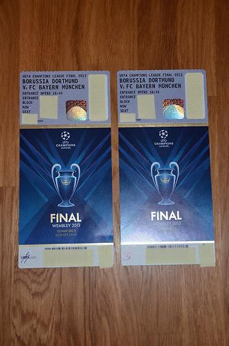 2 Tickets UEFA Champions League Finale 2013 Wembley - BVB - Bayern München