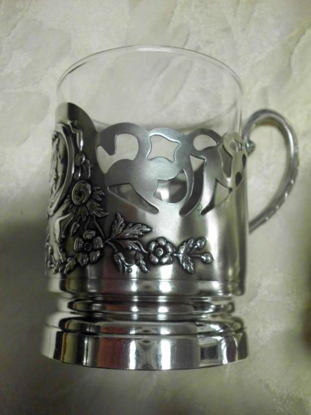 2 antike Tee- bzw. Punschtassen aus echtem Silber mit Glaseinsatz - gemarkt